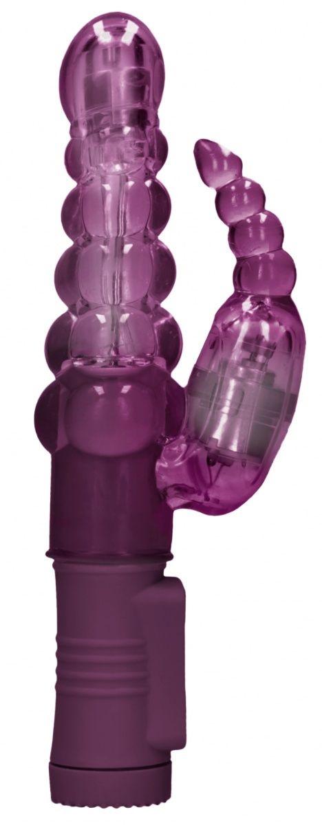 Фиолетовый вибратор-кролик Rotating Bubbles - 23,2 см.