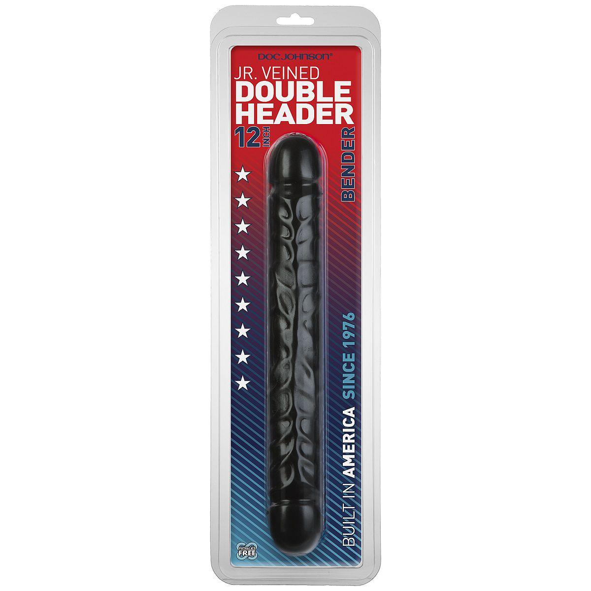 Черный двухголовый фаллоимитатор Jr. Veined Double Header 12 Bender - 30,5 см.