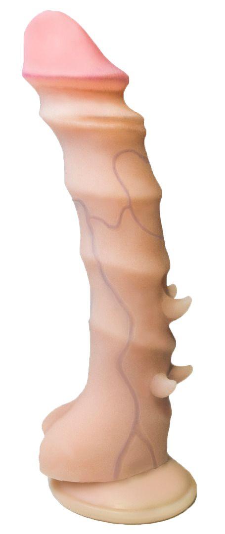 Телесный фаллоимитатор с шипиками и присоской - 21,5 см.