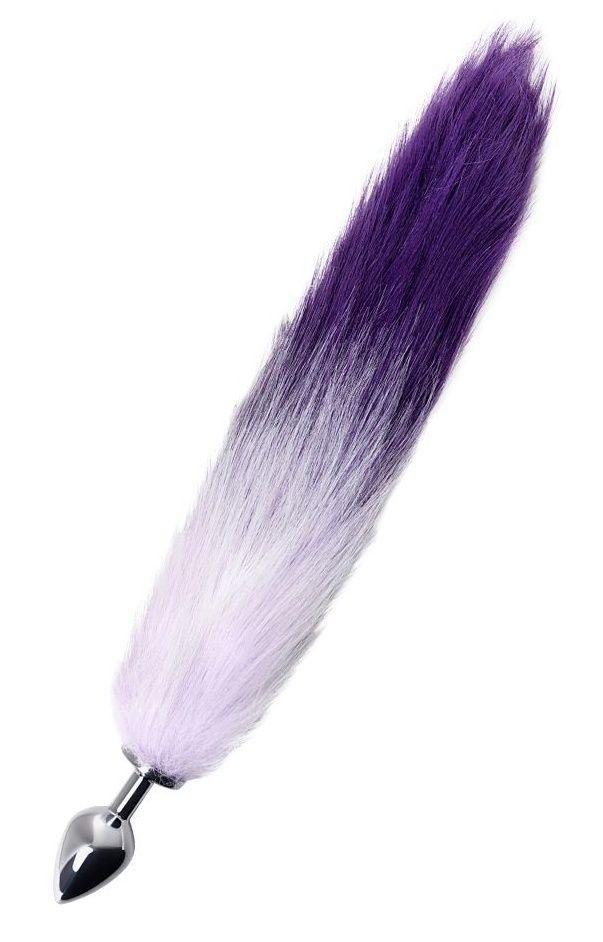 Серебристая металлическая анальная втулка с фиолетово-белым хвостом - размер M